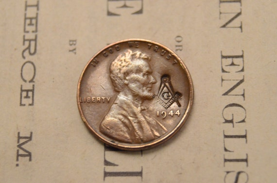Lincoln Wheat Cent Penny With Masonic Counterstamp of Free Mason Compass -  1930s 1940s 1950s - LIMITED Quantities