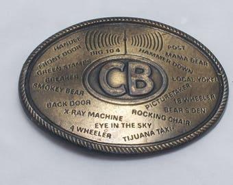 1970s Vintage CB RADIO Lingo Brass Belt Buckle, Made in USA - Long Haul Trucking, Trucker, Tractor Trailer, Trucker Gift, Smokey Bear