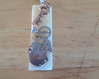 Upcycled glass tile steampunk style - watch parts - T1