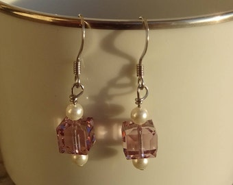 Lavender Cube Swarovski Crystal and Pearl Drop Stainless Steel Earrings - Light Purple Amethyst - Square