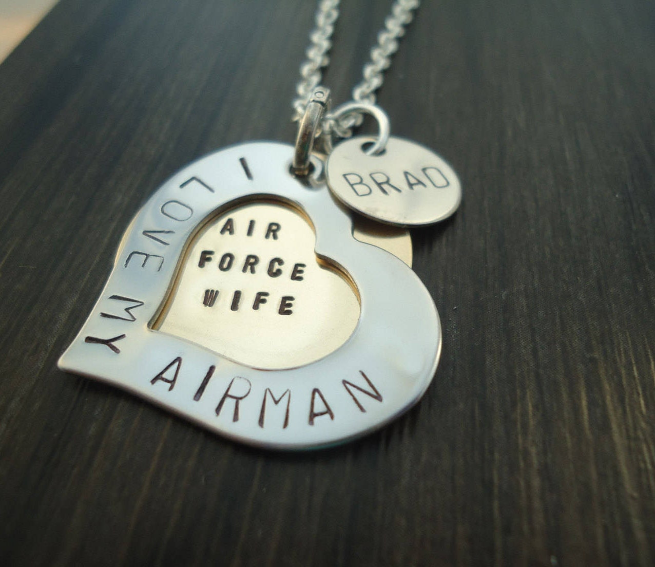 personalized i love my airman heart necklace with inside message and