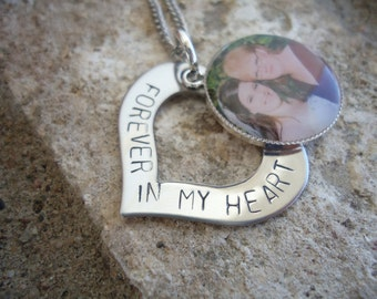 "Memory Photo Necklace Hand Stamped Heart ""Forever in my heart"" Necklace - In Loving Memory Necklace - Sympathy Gift"