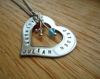 Birthstone Heart Necklace with Swarovski Crystal and Hand Stamped Names - Mom Necklace - Mothers Day gift for her
