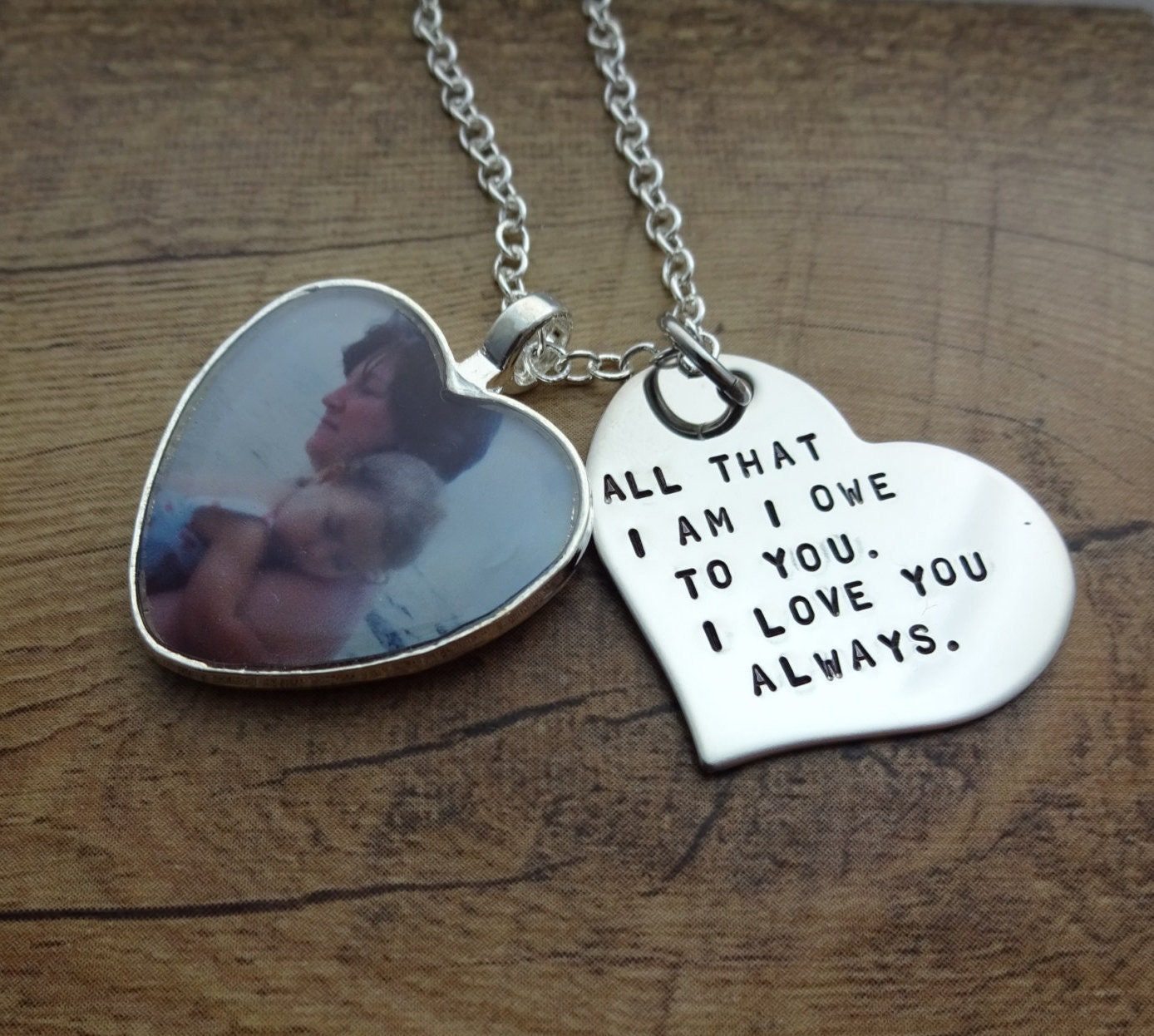 personalized hand stamped heart photo charm necklace mother of the
