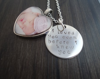 Hand Stamped Photo Charm Necklace - New Baby Necklace, New Mom Necklace - Gift for Mom - I loved you even before I knew you