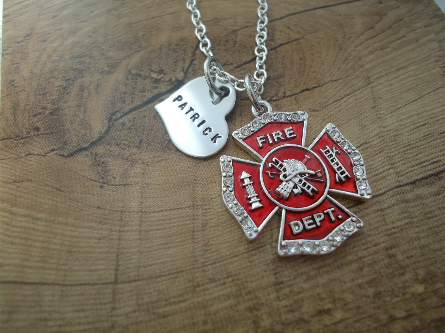 Personalized love fireman firefighter necklace with personalized personalized love fireman firefighter necklace with personalized heart fireman maltese cross gift for her i love my firefighter aloadofball Gallery