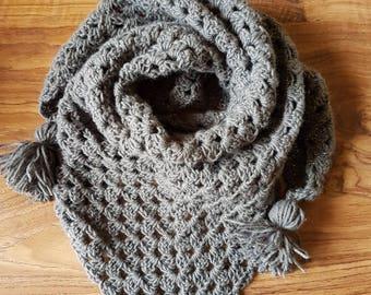 Hand made crochet Triangular scarf/shawl - lightweight scarf - granny square