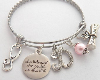 Personalized She Believed she could so she did Nurse Graduation Gift- Stethoscope Bangle Bracelet-Custom Nurse Jewelry Gifts  Nurse Students