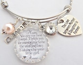 MOTHER Daughter Gift-Mother of the Bride Gift-Wedding Keepsake-Charm BRACELET-Handwriting Jewelry-Glass Dome Bangle-Holiday Wedding Gift