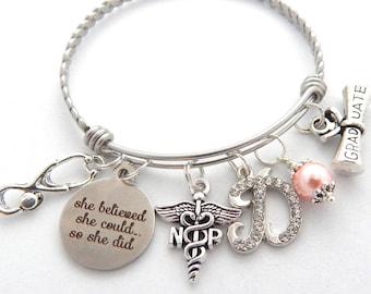 NP Graduate Gift for Nurse, NP Graduation Bracelet, Nurse Jewelry, Nursing Grad, Stethoscope Charm Bracelet, Np Medical Holiday Nurse Gifts