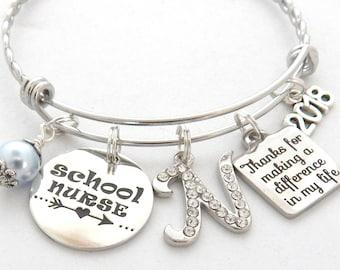 SCHOOL NURSE Jewelry, School Nurse Gift, Nurse appreciation, Gifts for School Nurse, School Nurse Bracelet, Thank you End of year gift