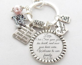 Future DAUGHTER In LAW Gift From Mother Law Bride To Be Family KEYCHAIN Daugher Charm Welcome Our