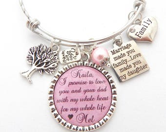 STEP DAUGHTER Wedding Gift, Step Daughter Bracelet, Gifts for Grooms Daughter, Blended Family Wedding, Brides Daughter Gift from Step dad