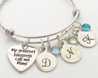 Mimi Bracelet with birthstones, Personalized Mimi Jewelry, Gifts for Mimi, My greatest Blessings Call me Mimi-Cyber Sale-Gift from grandkids