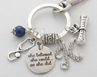 She Believed she could so she did Nurse Graduation Gift, Physician Assistant Keychain, Gifts for Medical Students, Nurse Graduate Keychain