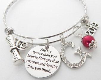 01e8b4f53 Class of 2019 Graduation Gift-Senior 2019-Graduation bracelet-Gifts for  Graduate-You are Braver Stronger Smarter-inspirational gift