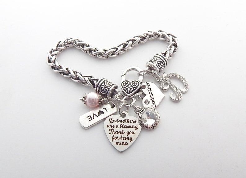 PERSONALIZED GODMOTHER GIFT-Baptism Godmother Bracelet-Godmother Proposal-Fairy Godmother Jewelry-Godmother are Blessing Godparent Gift