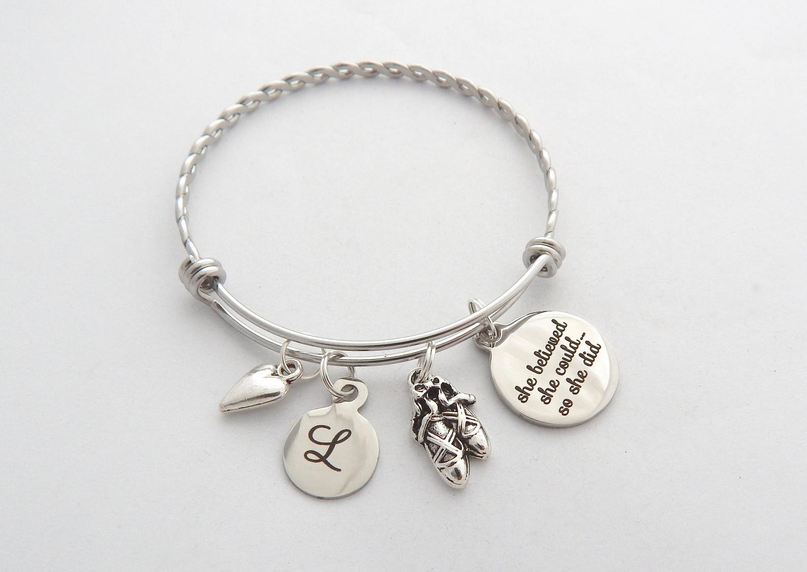 ballet teacher gift-dance instructor gift- gift ideas for dancers- gifts for dance teachers- ballet shoes bangle-ballet jewelry-