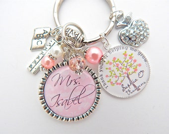 Personalized TEACHER Gift, Gift for Teacher, Teacher Keychain, Pink Teacher Necklace, Thank you helping me grow, End of Year, appreciation