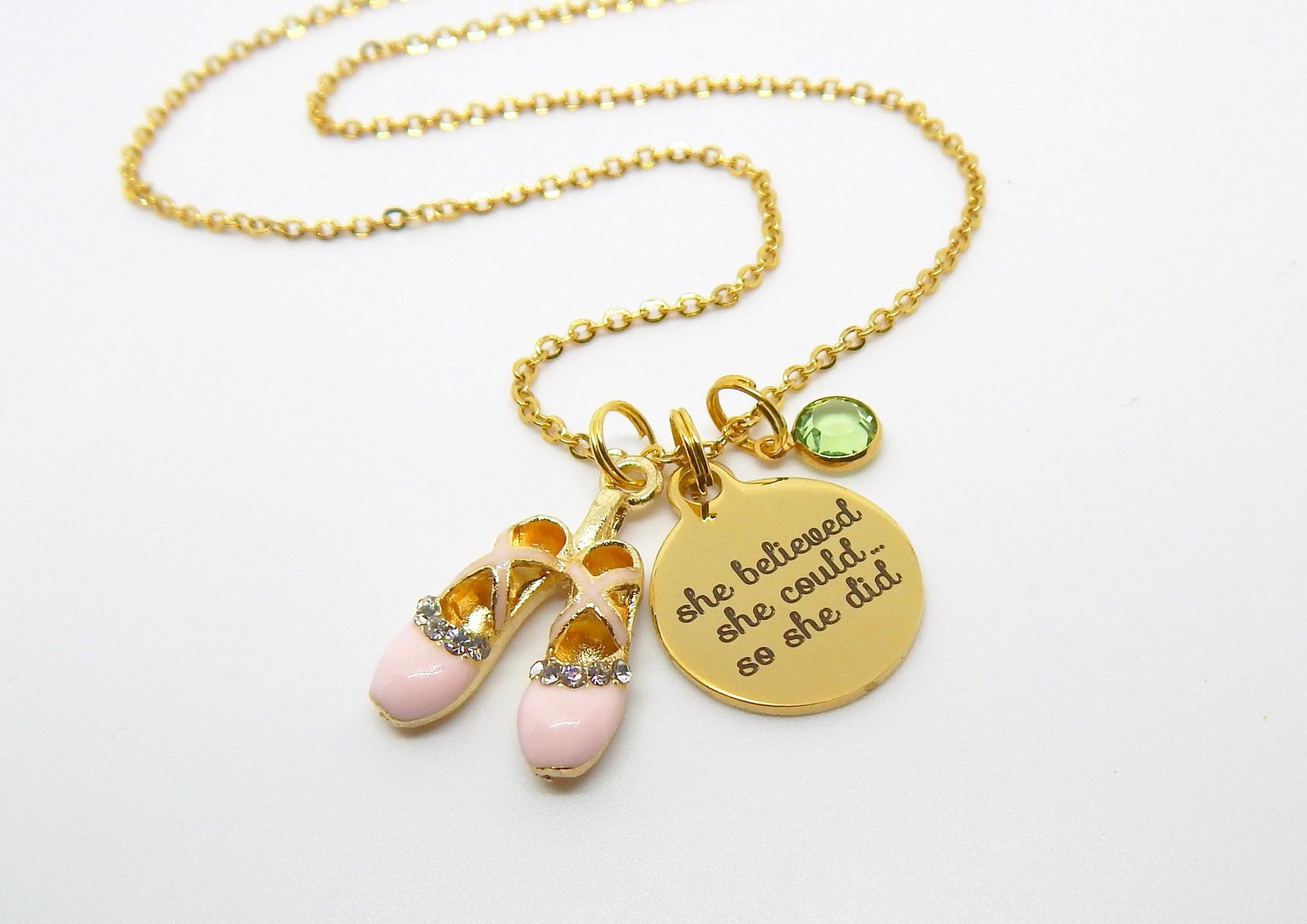 gold ballet necklace-pink ballet shoes jewelry-dancer quote she believed she could ballet gift ballerina jewelry-ballet recital