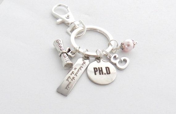 Promotion Geschenk Promotion Graduierung Keychain Keyring Promotion Wissenschaft Biologie Chemie College Promotion Doktor Der Philosophie