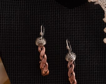 Copper Twisted & Curled Earrings