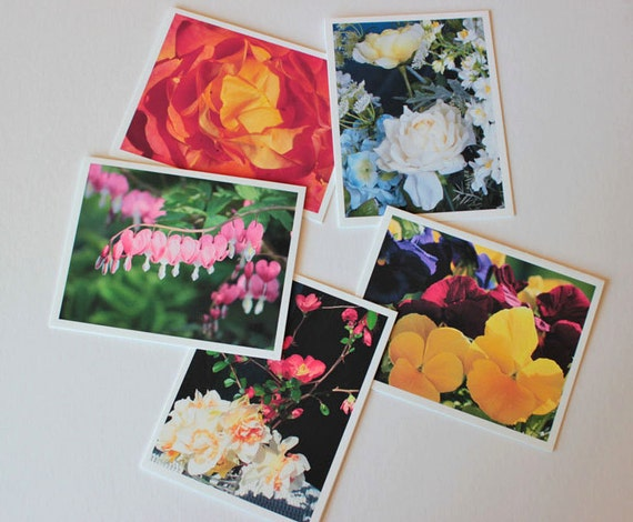 Colorful Flowers Set 2, Fine Art note Cards, box of 10 w/envelopes, Blank Cards, garden, Photo greeting cards, Floral art, beauty, nature