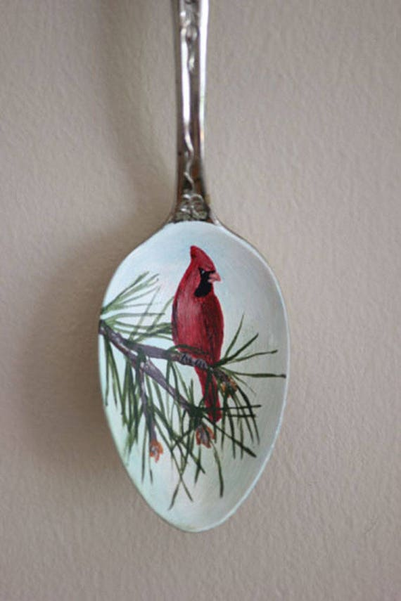 Northern Cardinal in Pine bough, Unique, Collectible Painted Spoon, bird art, Small Gift, garden art, songbirds, ornament, red, green,