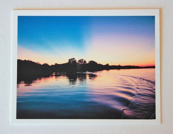 Cumberland River Sunset, note card, blank greeting card, sunset photos, fine art, single card, photo greeting card, colorful, brilliant
