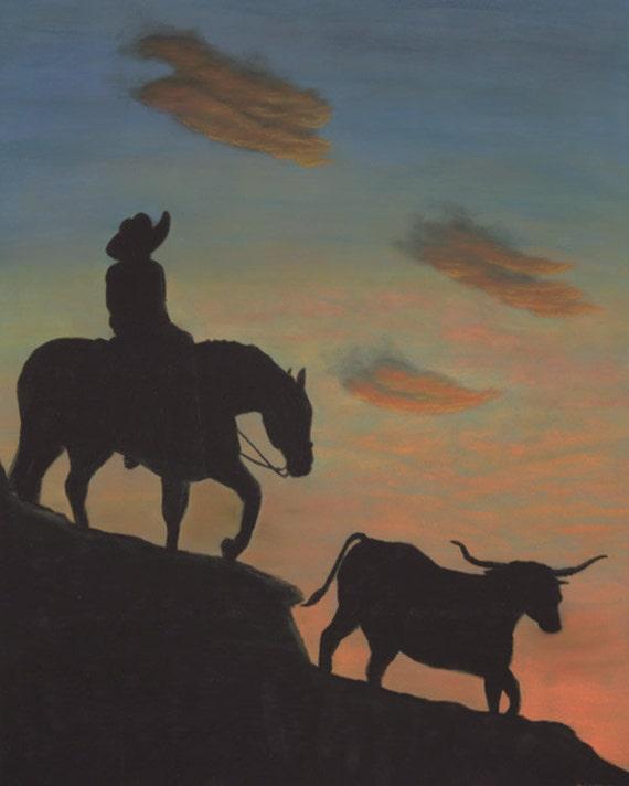 Western Art Western Painting Cowboy Art Cattle Sunset Horse Art Horse Art Print Desert Art Fine Art Giclee Print Signed Art Print