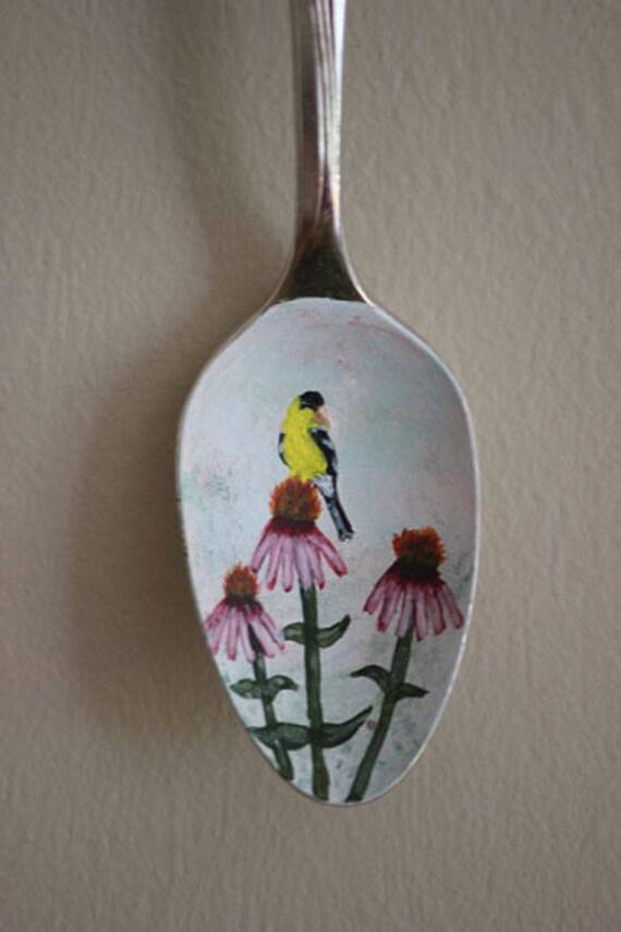 Goldfinch on Purple Coneflower, Unique, Collectible Painted Spoon,bird art, Small Gift, garden art, ornament, hostess gift, songbird,