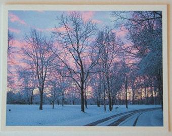 Snowy Sunrise, note card, blank greeting card, winter wonderland, fine art, single card, photo greeting cards, woodland scene, frost, trees