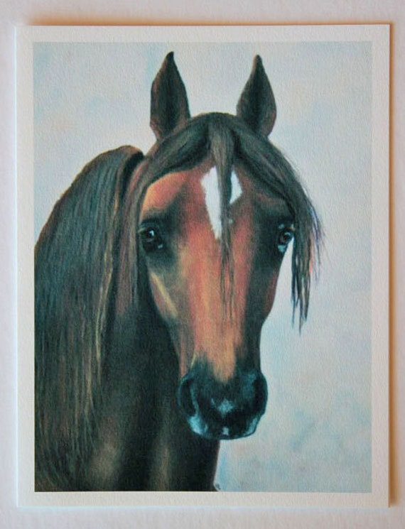 Tennessee Walking horse, note card, blank greeting card, horse art, fine art, single card, equestrian art, farm art, rest and peace, pasture