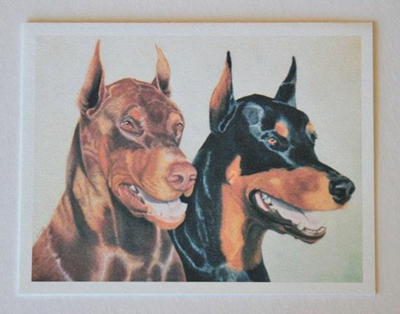 Dobermans, note card, blank greeting card, pastel pet portrait, dog art, fine art greeting cards