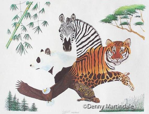 Zebra, tiger, panda, giraffe,turtle, eagle fine art print, wildlife art, zoo art, limited edition giclee print