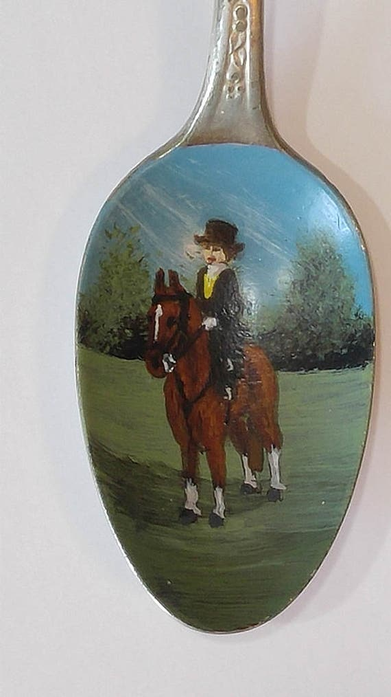 Sidesaddle, Painted metal spoon, Unique, Horses, Riding, Collectible Painted Spoon, Equine art, Small Gift, Horse art, home decor, ornament