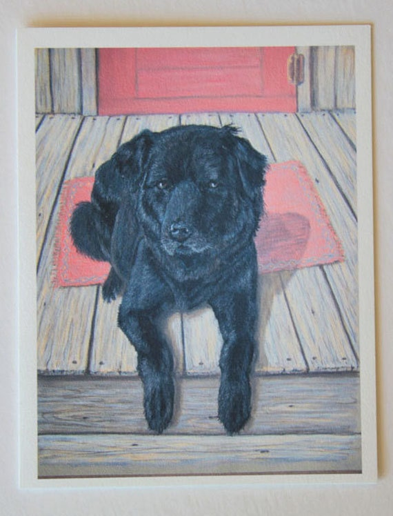 Black Lab, note card, blank greeting card, pastel pet portrait, dog art, fine art greeting cards, country life