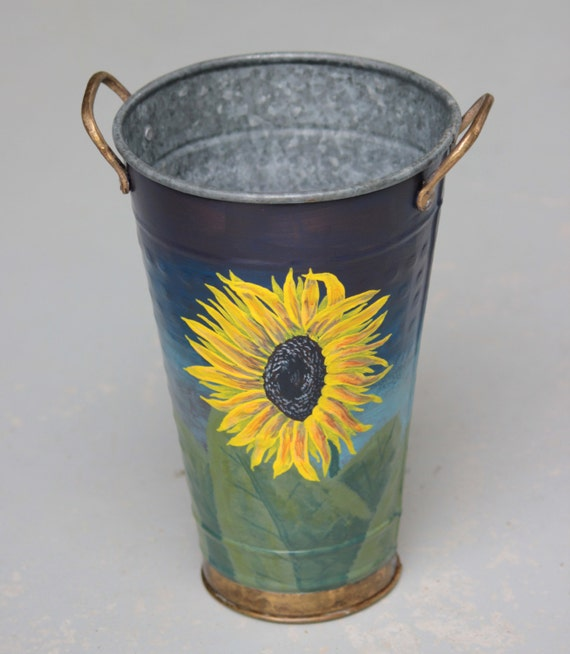 Hand painted Flower Bucket, Sunflowers, floral art, flower vase, beverage chiller, unique art, unique home decor