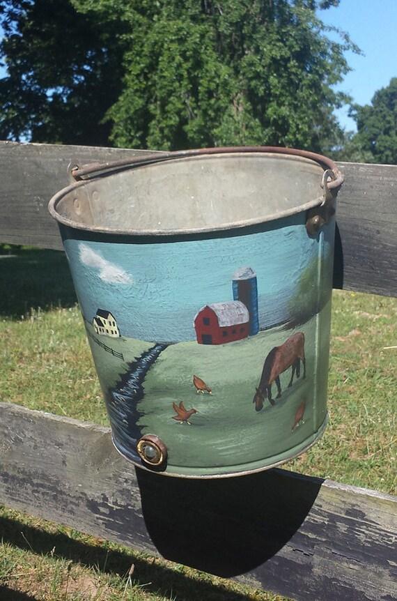 Hand painted Vintage Calf Bucket, Ice bucket, Farm art, Landscape, mini mural, wine bucket, beverage chiller