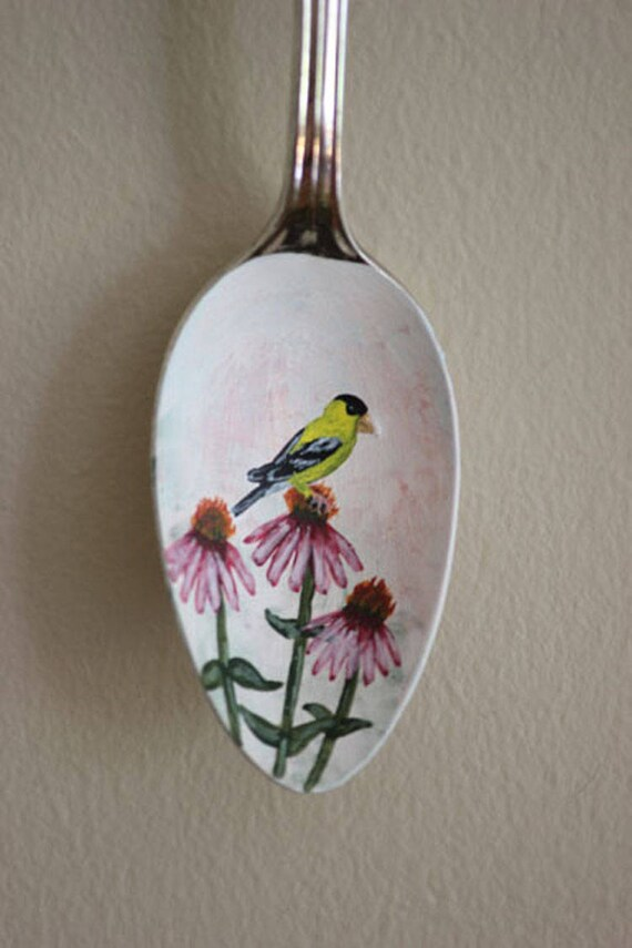 Goldfinch on Purple Coneflower, Unique, Collectible Painted Spoon, bird art, Small Gift, garden art, songbirds, ornament, hostess gift
