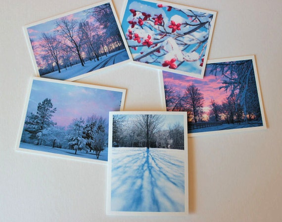 Winter wonderland card set 1,  box of 10 fine art cards w/envelopes, Blank Greeting Cards, Photo greeting cards, note cards, snow, woodland