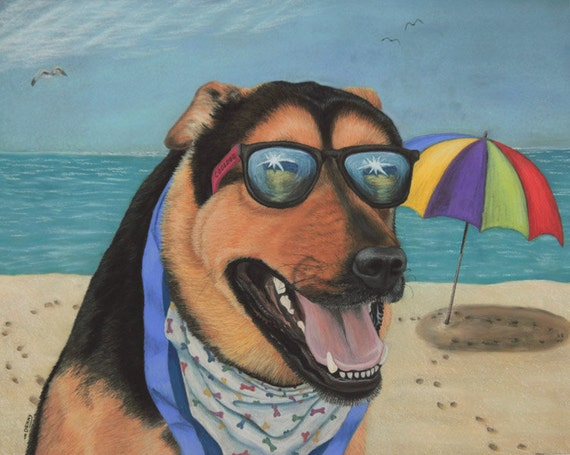 Dog art print, beach art, dog painting, German Shepherd art, happy, pastel painting, dog art, Fine Art Giclee Print,  signed art print