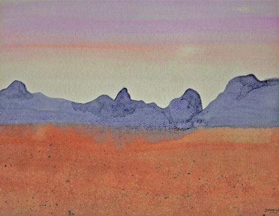 Desert art print, desert painting, purple mountains, watercolor painting, landscape, peach, orange, Fine Art Giclee Print,  signed art print