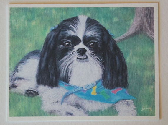 Shih Tzu, note card, blank greeting card, pastel pet portrait, dog art, fine art greeting cards, single card