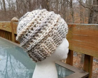 Messy Bun Beanie in Fossil - Ready to Ship - Ponytail Hat