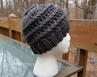 Messy Bun Beanie in Granite - Ready to Ship - Ponytail Hat