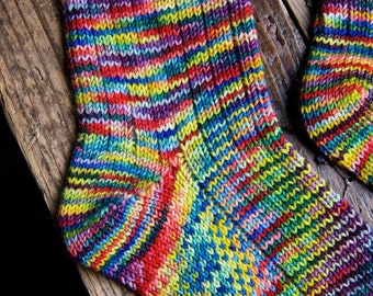 Knitting pattern, english and french, Theo, socks, double sole, toe-up