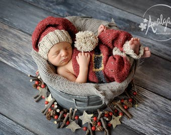 Christmas knit kit for baby, overall, hat, photo props, newborn