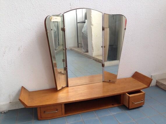 Vtg Vanity Table Large Mirror Oak Mid Century Furniture Etsy