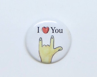 Vintage Sign Language Button I Love You Pin Valentines Day 1990s American Girl Doll‹